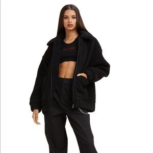 Black I Am Gia Pixie Sherpa Zip Jacket !!!
